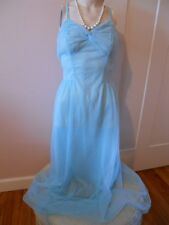VTG FANCY Princess Blue VANITY FAIR Chiffon & Lace Full Slip Negligee Gown S 32