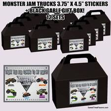 MONSTER JAM Party Favor Boxes Thank you Decals Stickers Loots Pink Party 12PC NW