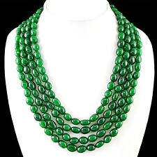 GENUINE 854.50 CTS EARTH MINED RICH GREEN EMERALD 4 STRAND OVAL BEADS NECKLACE