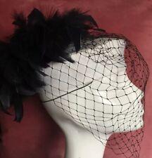 Vintage 1980s Black & White Pillbox Hat Feathered Birdcage Ladies Day Wedding