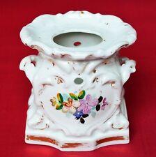 Biedermeier Porzellan Stövchen um 1840  handbemalt Blumendekor 12x12x10 cm