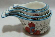 New listing Dutch Wax Handpainted Ceramic Red & Blue Floral Measuring Cups New
