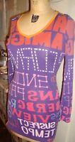 CUSTO Barcelona Purple & Orange Graffiti Print V neck L/S Shirt tunic  3