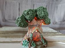 Vintage Happy Easter Bunny Lighted Tree House Figurine Easter Home Decoration