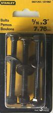 """Lot of 6, Stanley 5/16 x 3"""" Black Coated 3-Pack Steel Bolts, S827-253 / CD1862"""