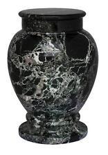 Superb Quality Natural Cremation Ashes Urn - Black Asian Marble (Adult Casket)