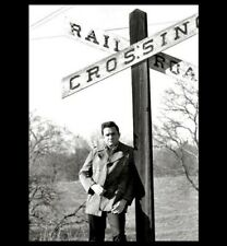 Amazing Johnny Cash RAILROAD CROSSING PHOTO, Arkansas Farm,On Way to Memphis
