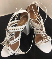 Aquazzura Shoe White Fringe Gold Studs Thick Heel Ankle Wrap Size 40 New