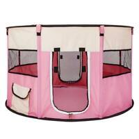 "45"" 600D Oxford Portable Pet Puppy Soft Tent Playpen Dog Cat Folding Crate Pink"