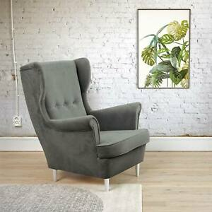 HIGH BACK ARMCHAIR BLUEGREY WOODEN LEGS FREE DELIVERY.