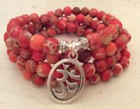 Natural Jasper imperial stone beads 6mm mala cuff bracelet 108 men yoga necklace