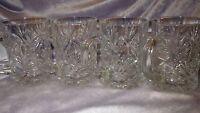 Crystal Mugs molded palm leaf design starburst bottom 4 14 oz Crystal D'Arques