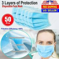 50 PCS Face Mask Non Medical Surgical Disposable 3Ply Earloop Mouth Cover - Blue