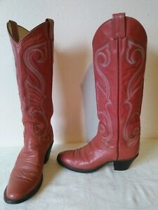 LARRY MAHAN Women's Pinkish Leather Cowboy / Western boots Size 6 N