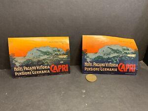 2 Vintage Luggage Labels, Hotel Pagano Vittoria, Capri, Italy, Hormell, Bowdoin