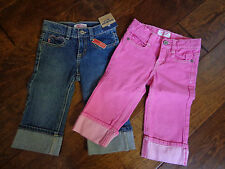 OSHKOSH B'gosh girl's sz 4 NWT/EUC denim capri pants pink/blue w/adjust waist