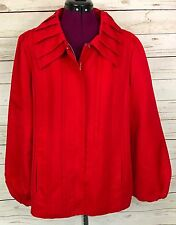 Dennis Basso Red Pleated Tuck Detail Zip Front Water Resistant Jacket Size L