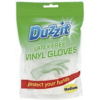 Duzzit Disposable Extra Strength Latex Vinyl Gloves Combined Size Medium 18 Pack
