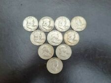More details for 10 franklin half dollar silver coins 1958 - 1963 good circ condition