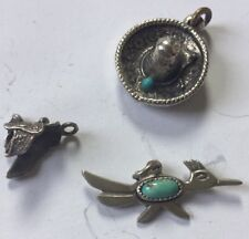 Road Runner Turquoise Sterling Silver Charm Saddle Charm Sombrero Charm (3)