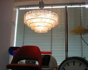 XXL HÄNGELEUCHTE Glas Ø 60cm DORIA 4315 Kronleuchter Iceglass Frostglas 70er