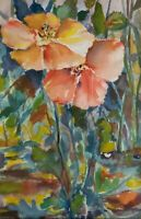 POPPIN'POPPIES, Original watercolor painting, 10 x 12 inches, by Patsy Heller