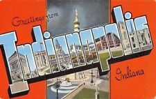 Indianapolis Indiana~Large Letter Linen Postcard~Butler University Field House
