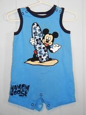DISNEY PARKS EMBROIDERED ROMPER HANGIN LOOSE WITH  MICKEY  6 MO. SNAP BOTTOM .