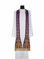 Purple Roman Clergy Stole SH4-F Vestment Étole Violett Stola Viola Estola Morada
