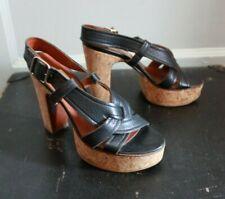 Lanvin Shoe BLack Leather Strappy Cork Slingback Platform Sandal EU35 US 5