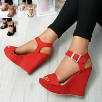 WOMENS LADIES ANKLE STRAP PEEP TOE WEDGE SANDALS HIGH HEELS PLATFORM SHOES SIZE