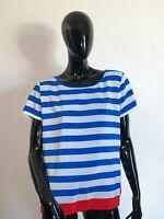 TOMMY HILFIGER T-shirt Top Shirt Bluse Oberteil Blau Weiß Gr L Knopfleiste