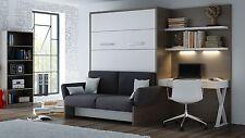 Schrankbett / Wandbett / Klappbett- Sofa WBS 1 Soft -160 x 200 cm Anthrazit Weiß