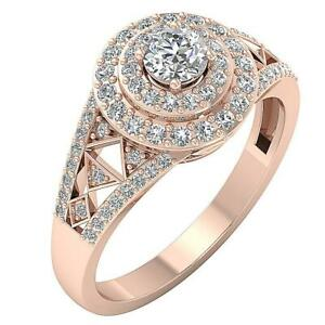 Double Halo Solitaire Engagement Ring SI1 G 1.00Ct Natural Diamond 14K Rose Gold