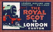 Vintage 1930's Royal Scot Railway London Midland Transport Luggage Label