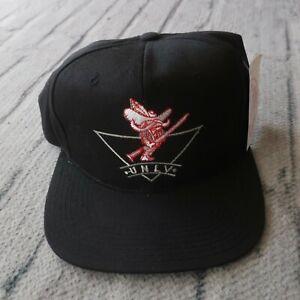 Vintage New 90s UNLV Runnin Rebels Logo Snapback Hat Dad Cap Rare Black