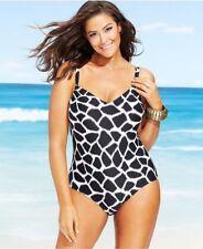 7927b49b31274 NWT Michael Kors Swimsuit Animal Print Maillot with Shelf Bra Plus Size 16W