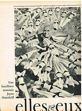 D- Coupure de presse Clipping 1961 (1 page) Une Bouillote nommée Jayne Mansfield