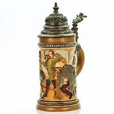 HR Hauber & Reuther 458 Antique German Mug Lidded Beer Stein - Bowling ca.1890s