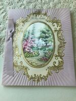 Vintage Easter Card Purple Gold Framed Sachet Hallmark Water Fountain Ribbon