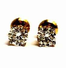 GIA VS2 M-N 14k yellow gold 1.25ct round diamond stud earrings estate vintage