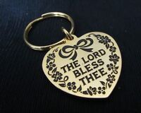 THE LORD BLESS THEE GOLD TONE HEART  BLACK ENAMEL LETTERING DESIGNED KEY CHAIN