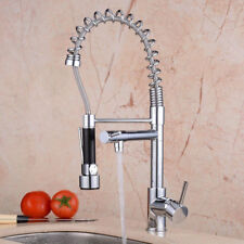 Chrome Kitchen Swivel Spout Single Handle Sink Faucet Pull Down Sprayer Mixer