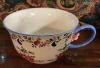 "Anthropologie Cadiz Tea Cup Coffee Mug Floral Art Teal Rim & Handle 3D Flower 3"""