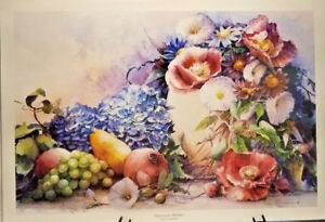 """Hydrangea Medley by Sharon Pederson Flowers Signed Numbered 13.5"""" x19.5"""" Fruit"""