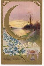 Ornate Gold Foil Crescent Moon Winged Hourglass Happy New Year PM1911 Postcard