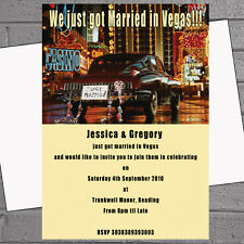 Just Married in Las Vegas Wedding Evening Day Reception Invitations x12 H0422