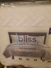Bliss Bedding Textured Pattern 3 Piece Quilt Set