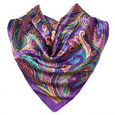 Foulard  100% Soie Violet motif Cachemire silk séide scarf shawl Purple