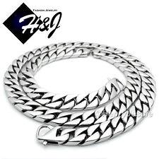 "24""MEN Stainless Steel HEAVY 14mm Silver Cuban Curb Chain Necklace Bracelet*NB15"